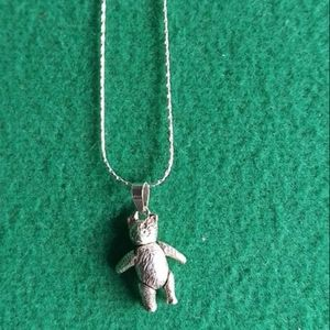 Italian Silver Chain and Bear Charm.